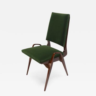 Gio Ponti Set of Custom Gio Ponti Style Dining Chairs in Walnut