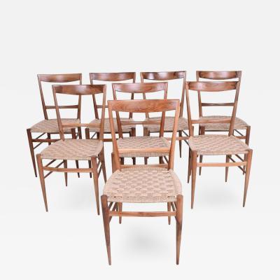 Gio Ponti Set of Eight Italian Superleggera Dining Chairs Attributed to Gio Ponti