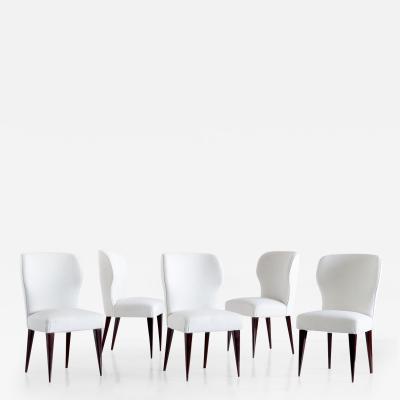 Gio Ponti Set of Five Gio Ponti Dining Chairs for Casa E Giardino Italy 1942