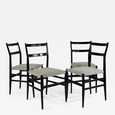 Gio Ponti Set of Four Gio Ponti Black Laquered Leggere Chairs 646 by Cassina 1952