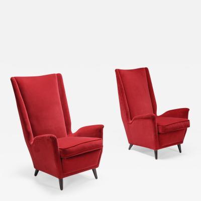 Gio Ponti Set of Italian Red Armchairs by Gio Ponti 1950s