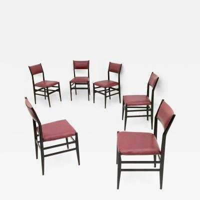 Gio Ponti Set of Six Burgundy Leggera Chairs by Gio Ponti for Cassina Italy 1950s
