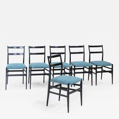 Gio Ponti Set of Six Leggera Chairs by Gio Ponti