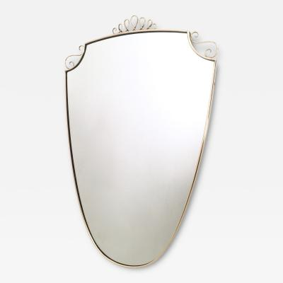 Gio Ponti Shield Shaped Wall Mirror in the style of Gio Ponti with Brass Frame 1940s