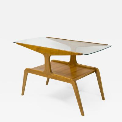 Gio Ponti Side table in wood and glass by Gio Ponti circa 1950
