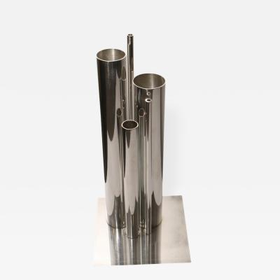 Gio Ponti Silvered Metal Vase of Clustered Cylinders