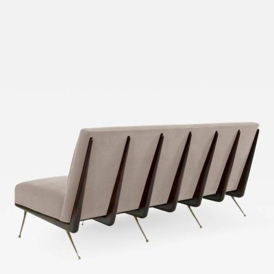 Gio Ponti Style Boomerang Sofa on Brass Legs