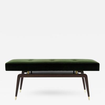Gio Ponti Style Floating Bench in Olive Velvet