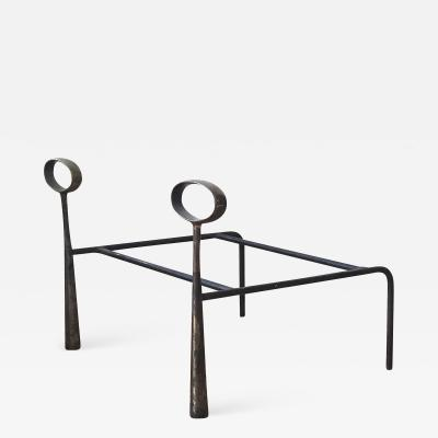 Gio Ponti Style of Gio Ponti brass and iron refined andiron