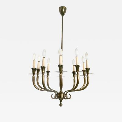 Gio Ponti Ten Arm Brass Chandelier in the style of Gio Ponti Italy 1940s 1950s