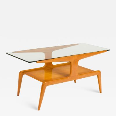 Gio Ponti Two Tiered Ash Coffee Table with Glass Top