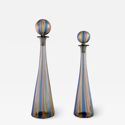 Gio Ponti Two decanters in colorful mouth blown art glass