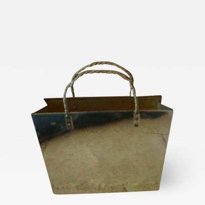 Gio Ponti Vintage Italian Brass Shopping Bag Magazine Holder