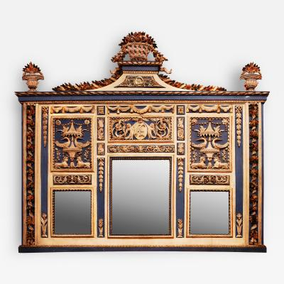 Giocondo Albertolli A Polychromed and Gilded Poplar Wood Caminiera with Mirror Glass