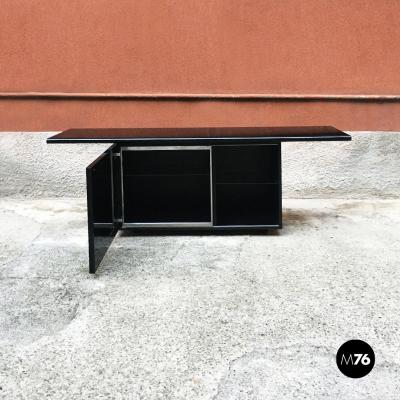 Giotto Stoppino Black lacquered Sheraton sideboard by G Stoppino and L Acerbis