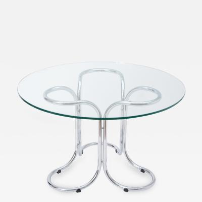 Giotto Stoppino Circular Mid Century Modern Glass Table in the Style of Giotto Stoppino