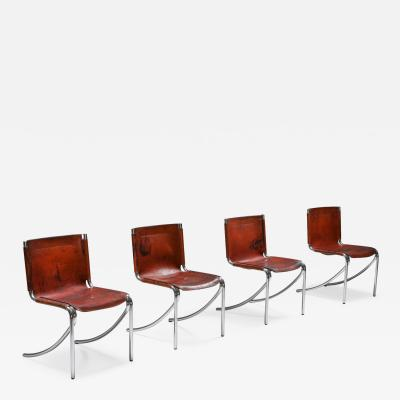 Giotto Stoppino Giotto Stoppino Leather and Chrome Dining Chairs Model Jot 1970s