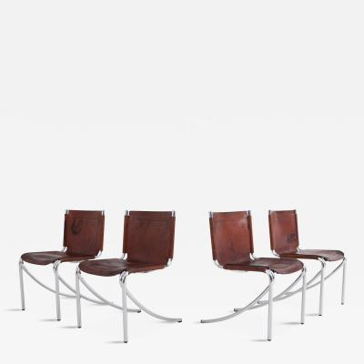 Giotto Stoppino Giotto Stoppino Patinated Red Leather And Chrome Vintage Dining Chairs Model Jot
