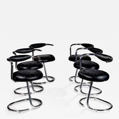 Giotto Stoppino Mid century Set of 6 italian chrome Cobra Chairs by Giotto Stoppino 1970s