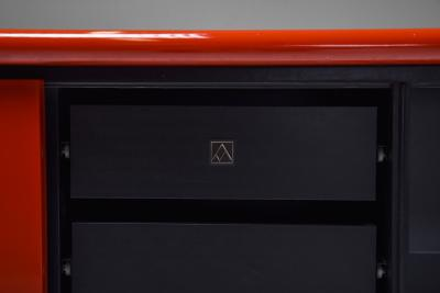 Giotto Stoppino Red lacquer credenza by Giotto Stoppino for Acerbis 1970s