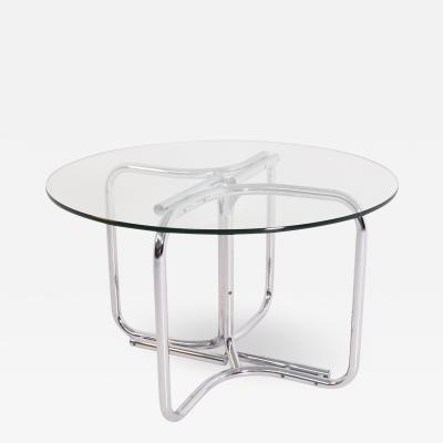 Giotto Stoppino Round table in steel and glass by Giotto Stoppino