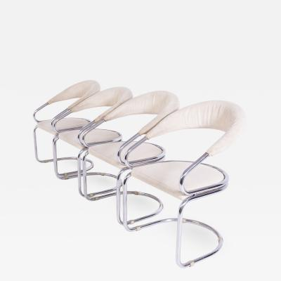Giotto Stoppino Set of Four Giotto Stoppino Chairs in Beige Cotton and Steel
