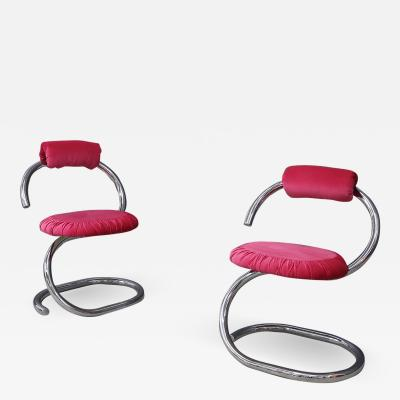 Giotto Stoppino Set of four Midcentury chair by Giotto Stoppino Series Cobra pink 1970s