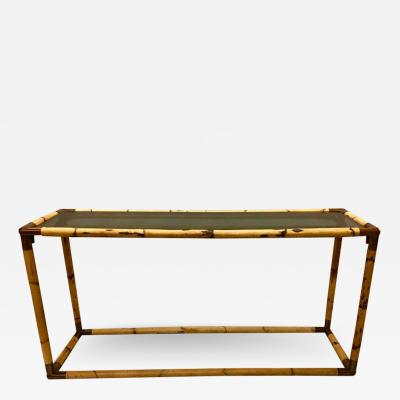 Giovanni Banci 2 Italian Midcentury Bamboo or Rattan and Glass Consoles or Sofa Tables by Banci