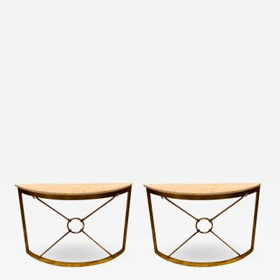 Giovanni Banci 2 Italian Midcentury Gilt Iron Demilune Consoles by Giovanni Banci for Hermes
