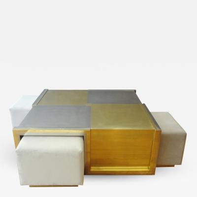 Giovanni Banci Beautiful coffee table with nesting stools by Giovanni BANCI 1975