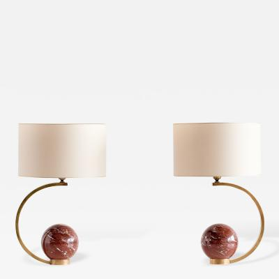 Giovanni Banci Pair of Giovanni Banci Brass Table Lamps with Marble Spheres Florence 1970s