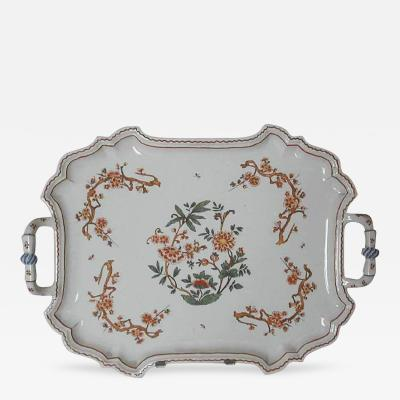 Giovanni Battista Antonibon A Glazed Earthenware Tray with Two Handles and Floral Decoration