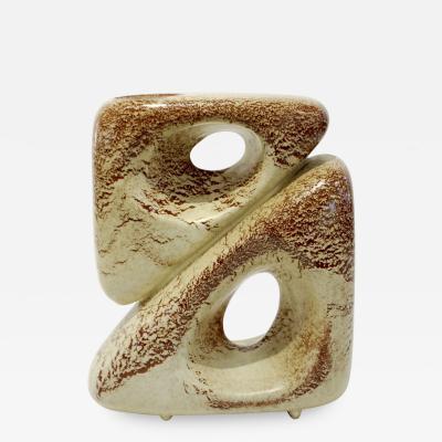 Giovanni Bertoncello 1960 Bertoncello Italian Vintage Art Sculpture Ceramic Beige Cubic Vase by Rigon
