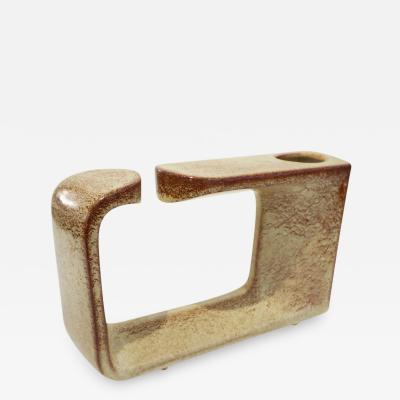 Giovanni Bertoncello 1960 Bertoncello Italian Vintage Ceramic Abstract Sculpture Beige Cubist Vase