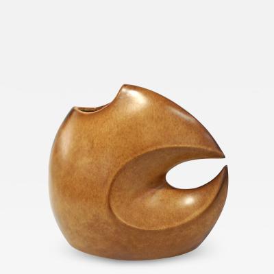 Giovanni Bertoncello 1960s Bertoncello Italian Vintage Abstract Sculpture Brown Red Ceramic Vase