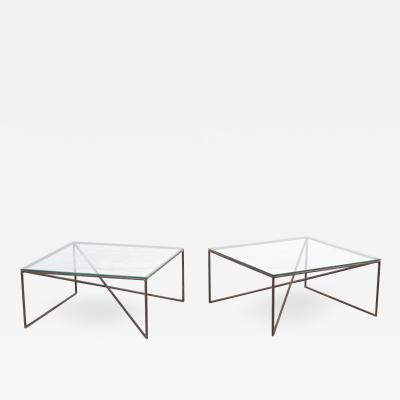 Giovanni Ferrabini 1 of 2 Square Wrought Iron Coffee Tables by Giovanni Ferrabini Italy 1970s