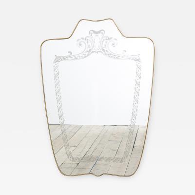 Giovanni Gariboldi Giovanni Gariboldi Shaped Mirror with Brass Frame and Decoration