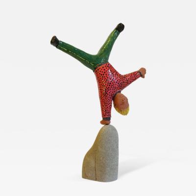 Giovanni Ginestroni Acrobat Sculpture Terra Cotta Figure by the Italian Artist Ginestroni