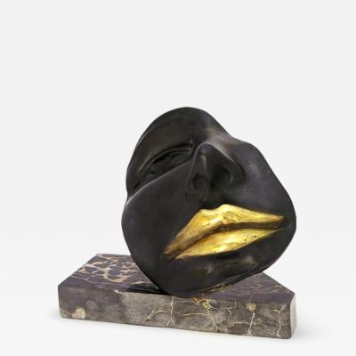 Giovanni Ginestroni Black Sexy Bronze Sculpture of a Partial Face with Gold Lips on Marble Base