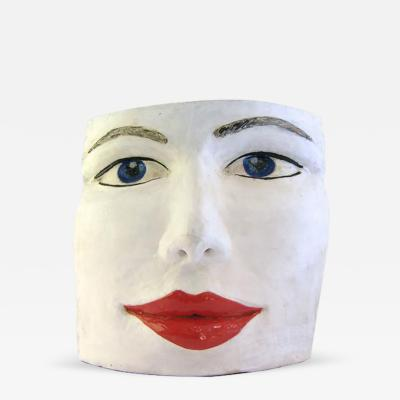 Giovanni Ginestroni Blue Eyes Face Terra Cotta Sculpture by Ginestroni