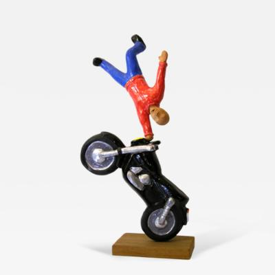 Giovanni Ginestroni Figure on Motorcycle Terra Cotta Sculpture by the Italian Artist Ginestroni