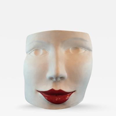 Giovanni Ginestroni Red Lips Face Terra Cotta Sculpture by Ginestroni