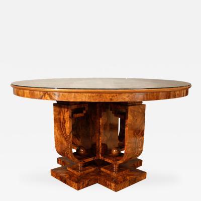 Giovanni Guerrini Italian Futurist Period Burl Walnut Table by Giovanni Guerrini Circa 1925