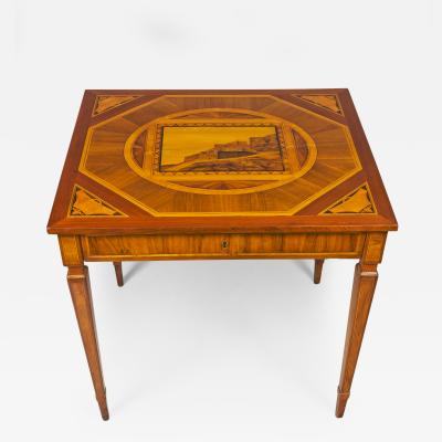 Giovanni Maffezzoli A Neoclassical Fruitwood Walnut Marquetry and Parquetry Center Card Table