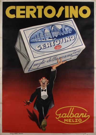 Giovanni Manca Italian Art Deco Period Poster for Certosino Cheese by Giovanni Manca