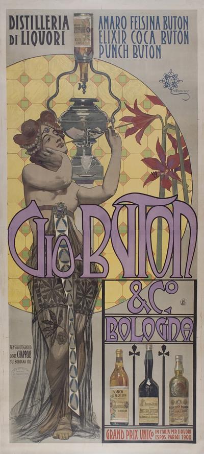 Giovanni Mataloni Italian Art Nouveau Period Liquor Poster by Giovanni Mataloni 1900