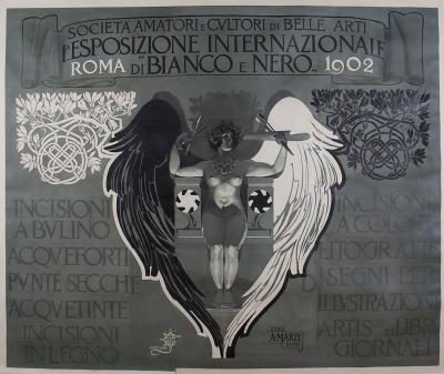 Giovanni Mataloni Italian Liberty Period Poster by Mataloni for Black and White Art Exhibit 1902