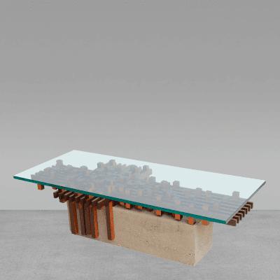 Giovanni Michelucci Italian Walnut and Concrete Glass Low Table Attributed to Giovanni Michelucci