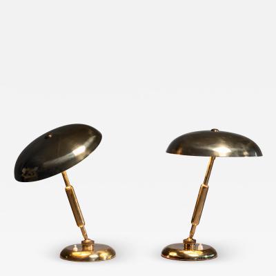 Giovanni Michelucci Pair of Giovanni Michelucci adjustable brass table lamps Italy