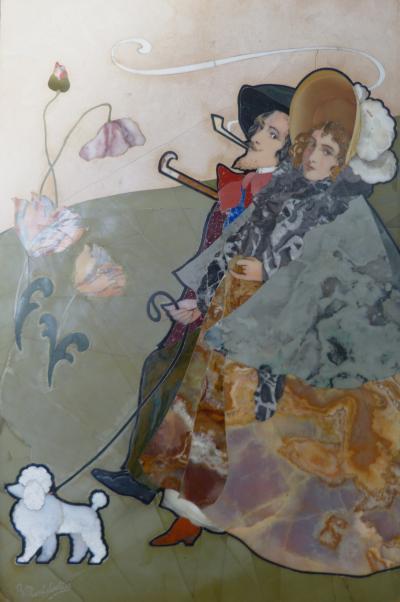 Giovanni Montelatici Pietra Dura Plaque by Giovanni Montelatici